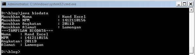Membuat Biodata Sederhana Dengan Java Info Knowledge